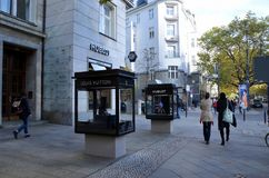 Boutiques on Kurfurstendamm. BERLIN, GERMANY - OCT 10, 2016 - Boutiques on Kurfurstendamm, one of the most famous avenues in Berlin, Germany Stock Photography