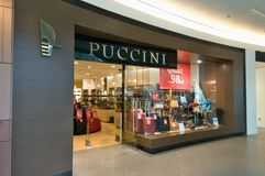 Boutiques Puccini op de vloer - Gouden Terras Warshau Royalty-vrije Stock Afbeelding