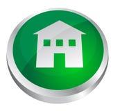 Bouton à la maison brillant vert Images libres de droits
