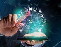 Bouton à la maison d'une interface de technologie entourée par application Images libres de droits