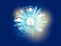 Bouton à la maison d'une interface de technologie entourée par application Image stock