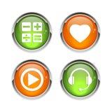 Bouton сети 3D значка кнопки установленное Стоковые Фотографии RF