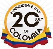 Bouton avec la date de rappel et drapeau pour le Jour de la Déclaration d'Indépendance de la Colombie, illustration de vecteur illustration stock