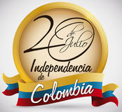 Bouton avec la date manuscrite et drapeau pour le Jour de la Déclaration d'Indépendance de la Colombie, illustration de vecteur Image libre de droits