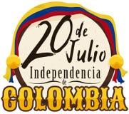 Bouton avec le drapeau tricolore pour commémorer le Jour de la Déclaration d'Indépendance de la Colombie, illustration de vecteur Photo stock