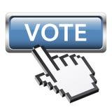 Bouton avec le vote graphique de main du pixel 3D illustration stock