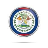 Bouton bélizéen de drapeau de vecteur Drapeau de Belize dans le style en verre de bouton Photographie stock