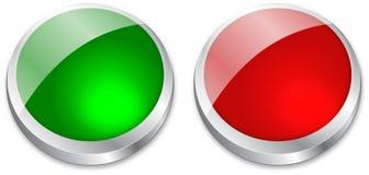 Bouton blanc sur vert et le rouge Images stock