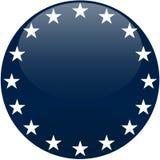 Bouton bleu avec les étoiles blanches Image stock