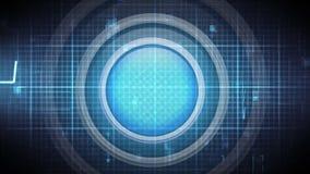 Bouton bleu contre la vague d'énergie et le modèle de grille illustration libre de droits