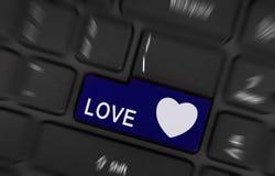 Bouton bleu d'amour et de coeur Images libres de droits