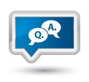 Bouton bleu de bannière de bulle de perfection question-réponse d'icône Images stock