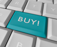 Bouton bleu de clé d'achat Image stock