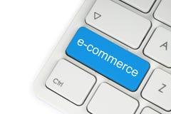 Bouton bleu de commerce électronique photos libres de droits