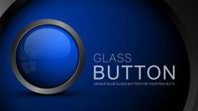 Bouton bleu en verre illustration libre de droits