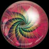 Bouton brillant avec l'embellissement coloré de fractale illustration de vecteur