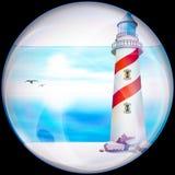 Bouton brillant avec l'embellissement coloré et léger illustration stock