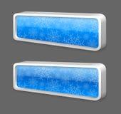bouton brillant bleu en métal de l'hiver 3D Images libres de droits