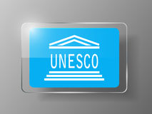 Bouton brillant de drapeau de l'UNESCO Illustration de vecteur Photos stock