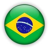 Bouton brillant de drapeau du Brésil le football 2014 du monde Photographie stock