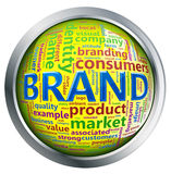 Bouton brillant de wordcloud de «marque» Photographie stock libre de droits