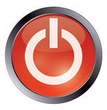 Bouton brillant rouge de puissance sur le blanc Image stock