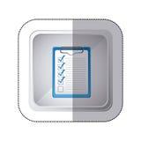 bouton carré argenté d'autocollant avec le bloc-notes de table avec la liste de contrôle Image libre de droits