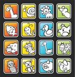 Bouton carré avec les animaux peints Image libre de droits