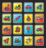 Bouton carré avec une illustration de technologie Photographie stock libre de droits