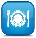 Bouton carré bleu cyan spécial d'icône de plat de nourriture Photographie stock libre de droits