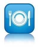 Bouton carré bleu cyan spécial d'icône de plat de nourriture Photographie stock