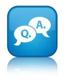 Bouton carré bleu cyan spécial d'icône question-réponse de bulle Photo stock