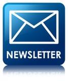 Bouton carré bleu de bulletin d'information Photo stock