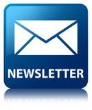 Bouton carré bleu de bulletin d'information Photographie stock libre de droits