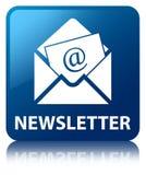 Bouton carré bleu de bulletin d'information Image libre de droits
