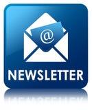 Bouton carré bleu de bulletin d'information Photo libre de droits