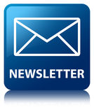 Bouton carré bleu de bulletin d'information Image stock
