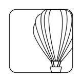 bouton carré de silhouette avec le ballon à air chaud de découpe Image libre de droits