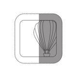 bouton carré de silhouette d'autocollant avec le ballon à air chaud de découpe Images stock