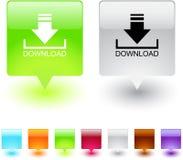 Bouton carré de téléchargement. image stock