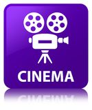 Bouton carré pourpre de cinéma (icône de caméra vidéo) Photos libres de droits