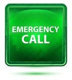 Bouton carré vert clair au néon d'appel d'urgence illustration libre de droits