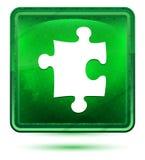 Bouton carré vert clair au néon d'icône de puzzle illustration stock