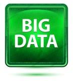 Bouton carré vert clair au néon de Big Data illustration stock