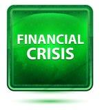 Bouton carré vert clair au néon de crise financière illustration stock