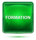 Bouton carré vert clair au néon de formation illustration libre de droits