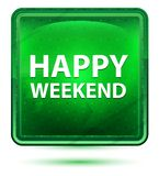 Bouton carré vert clair au néon de week-end heureux illustration libre de droits