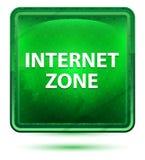 Bouton carré vert clair au néon de zone d'Internet illustration de vecteur