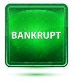 Bouton carré vert clair au néon faillite illustration stock