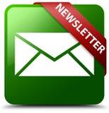 Bouton carré vert de bulletin d'information Images libres de droits